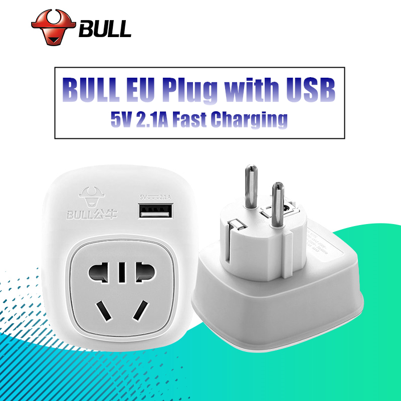 BULL European KR EU Plug Adapter AU UK American US To EU KR Euro German Travel Adapter USB Electrical Plug Power Sockets Outlet