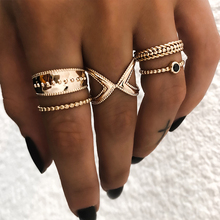 Crazy Feng Ethnic Boho Gold Color Midi Finger Ring Set For Women Bohemian Crystal Pattern Bague Wedding Band Jewelry 5Pcs/Lot