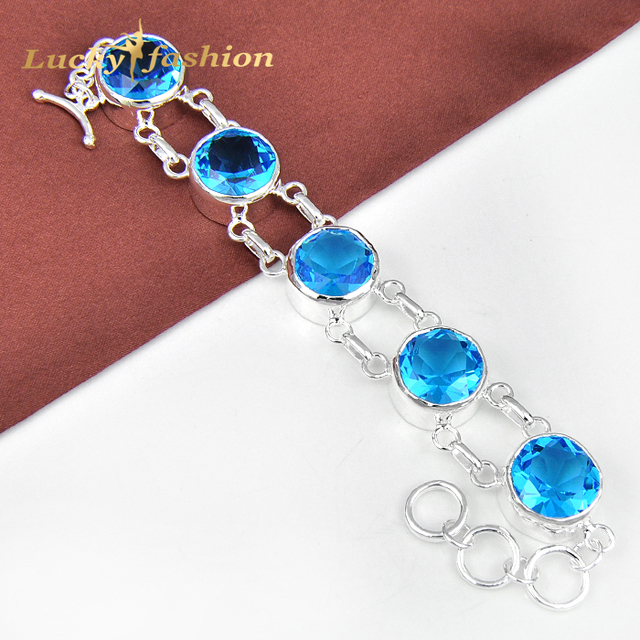 Holiday Round Fire Blue Created Topaz Crystal Silver Plated Bracelets Bangle Russia Australia Wedding Bracelet Fashion Bijoux