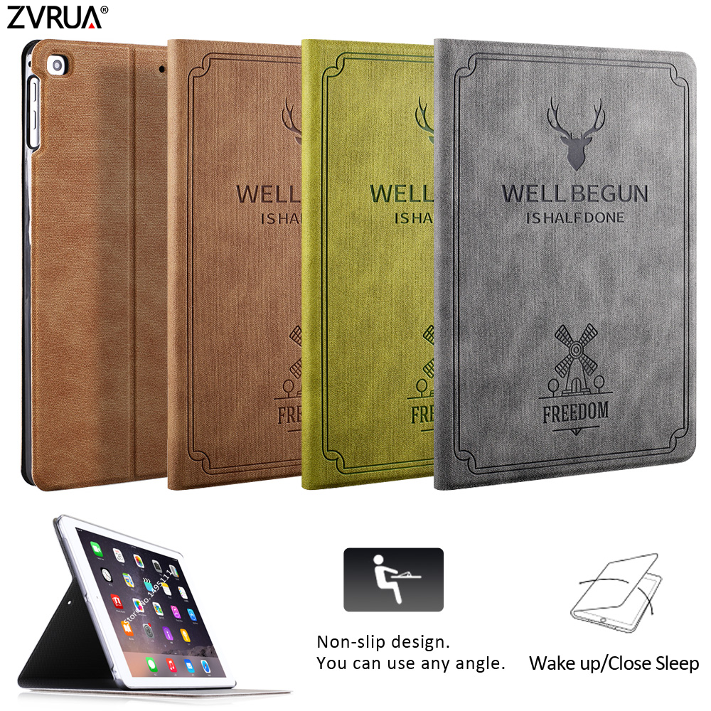 For New iPad 9.7 inch 2017 2018 Air 1/ 2, ZVRUA Deer pattern PU Leather Smart Cover Folio Hard Case Auto Wake