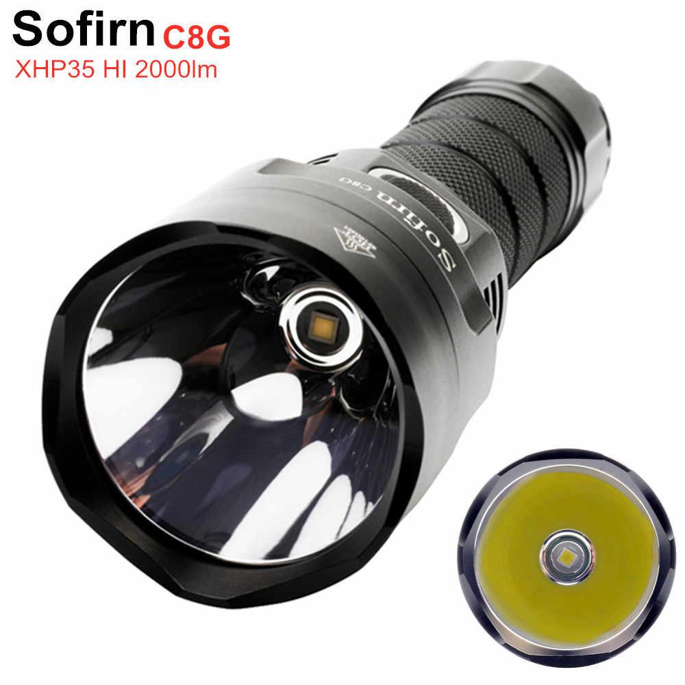 Sofirn c8g 21700 poderosa lanterna led, cree xhp35, hi 2000lm, 18650, com atr, 2 grupos, indicador de rampa, versão atualizada