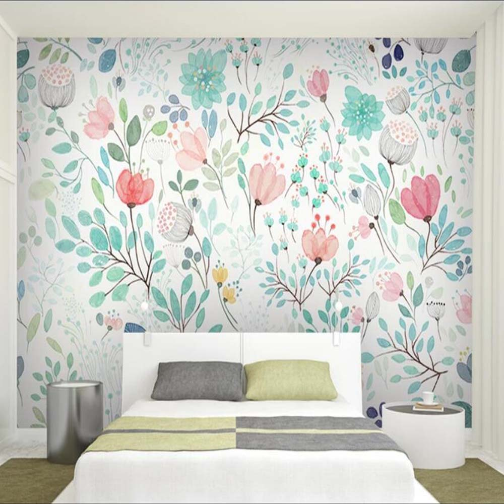 Us 8 46 53 Off Watercolor Fl Wallpaper Mural Fresh Small Flowers Wall Murals Decals Paper Rolls Nursery Living Room Wallpapers In