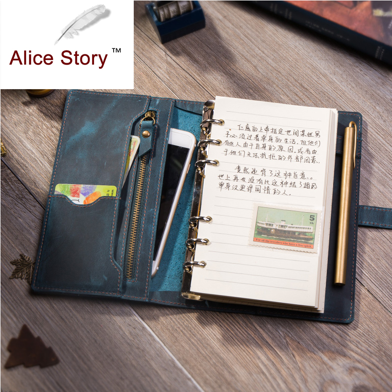 Handmade Genuine Leather A6 Multifunction Spiralnotebook Cowhide Diary Loose Leaf Diy Ring Binder Replaceable Inserts simline vintage handmade genuine leather cowhide cover a6 loose leaf traveler s notebook diary passport holder cover wallet men