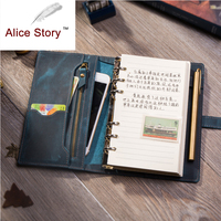 Handmade Genuine Leather A6 Multifunction SpiralNotebook Cowhide Diary Loose Leaf DIY Ring Binder Replaceable Inserts