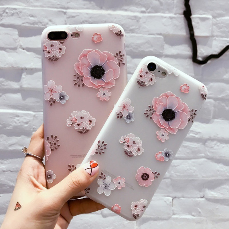 Mobile Phone Case 3D Flowers Painting Protective Shell Soft TPU Back Cover For Apple iPhone 6/6S/6S Plus/7/7 Plus QJY99