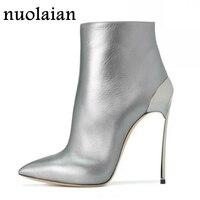 Черные кожаные ботинки на платформе женщина носок Женские ботильоны зимняя обувь на высоком каблуке Женская обувь на высоком каблуке 11 см