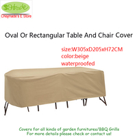 Made In China High Quality Table And High Back Chair Cover Beige Waterproofed Fabric 305X205X72cm Used