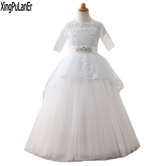 Princess Beaded Lace Appliques Blue White Ball Gown Half Sleeve Flower  Girls Dress First Communion Dresses Kids Pageant Dress d41d13246b2d