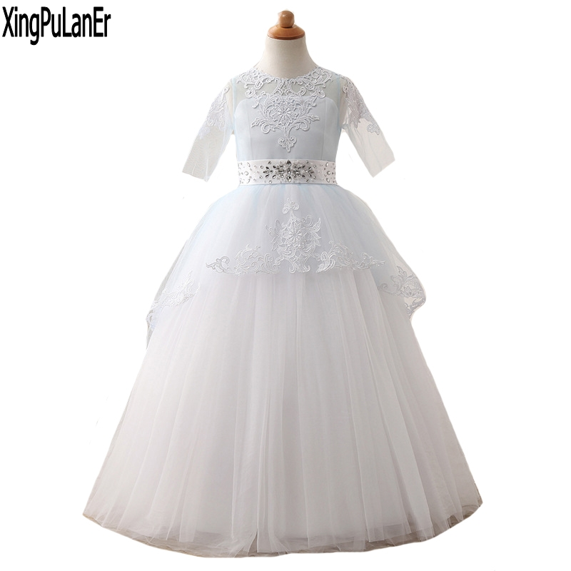 Princess Beaded Lace Appliques Blue White Ball Gown Half Sleeve   Flower     Girls     Dress   First Communion   Dresses   Kids Pageant   Dress