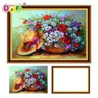 DPF 5D Diamond Embroidery Flowers Stra With Frame Diamond Painting Cross Stitch Full Round Diamond Mosaic