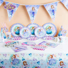 Disney Sofia The First Plastic Tablecover Princess Sofia Paper Cup Plate Baby Shower Kid Birthday Family Party Decoration Supply