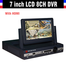 New 7″ LCD CCTV DVR eight channel Full D1 H.264 Community DVR 8CH Recorder Video Surveillance DVR CCTV 8ch for Safety cameras