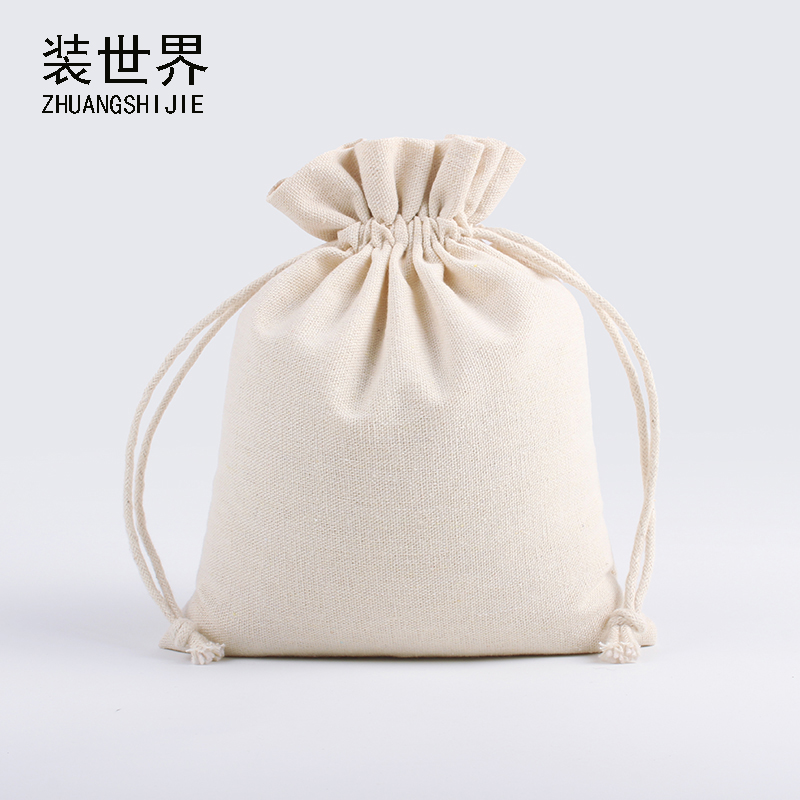 20pcs/Lot 30*40cm Natural Cotton Eco Jute Linen Drawstring Pouch Packaging Gift Bag Logo Printed Jewelry Christmas Bag
