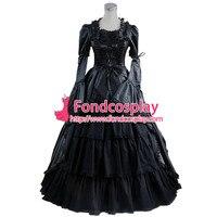 Готическая Лолита панк средневековое платье черный шар длинное вечернее платье куртка на заказ [CK1407]