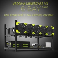 New Arrival Veddha V3C6 GPU Mining Rig Aluminum Alloy Stackable Case Up To 6 GPU Open Air Frame Rack Bracket