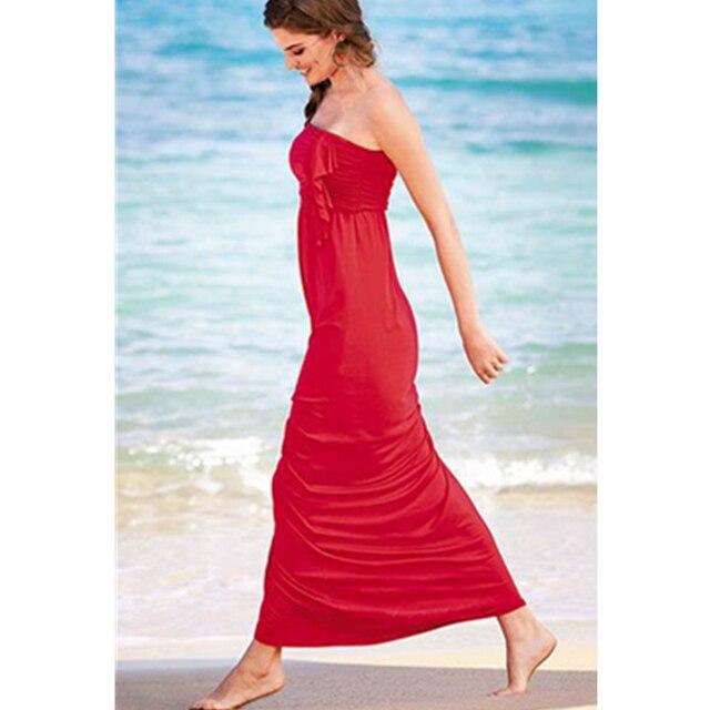 3f033f081bb Été Femme Robe Longue Vêtements De Plage Populaire Rouge Lady Long Beach  Robe Bretelles Extensible Belle