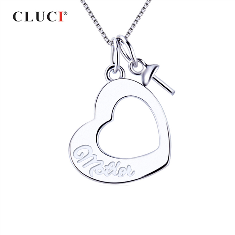 CLUCI Silver 925 Simple Charms Pendant Gift For Mother Love Heart Wish Pearl Pendant Mounting Women Mother' Day Jewelry