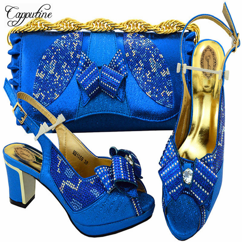 Фотография Capputine Nice Newest Design Sandals Shoes With Bag Set Italian Elegant High Heels 6CM Woman Shoes And Bags Set For Party M10597