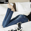 Venta Caliente de La Mezclilla Skinny Jeans Para Mujeres 2015 Verano Estilo Femme Mediados Lápiz Ropa Americana Mujer Jeans Stretch Denim Pantalones 1179