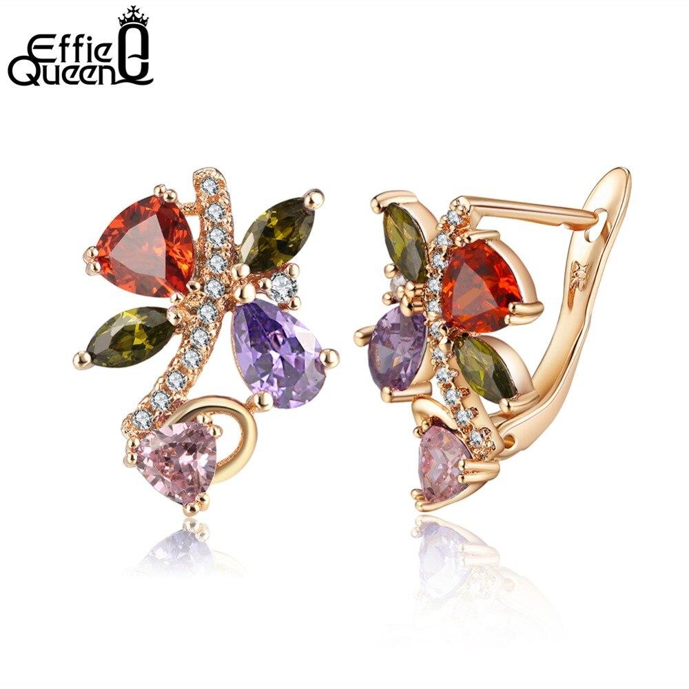 Effie Queen 2018 Fashion New Girls Earring Mix Colorful Zircon Stud Earrings For Women W ...