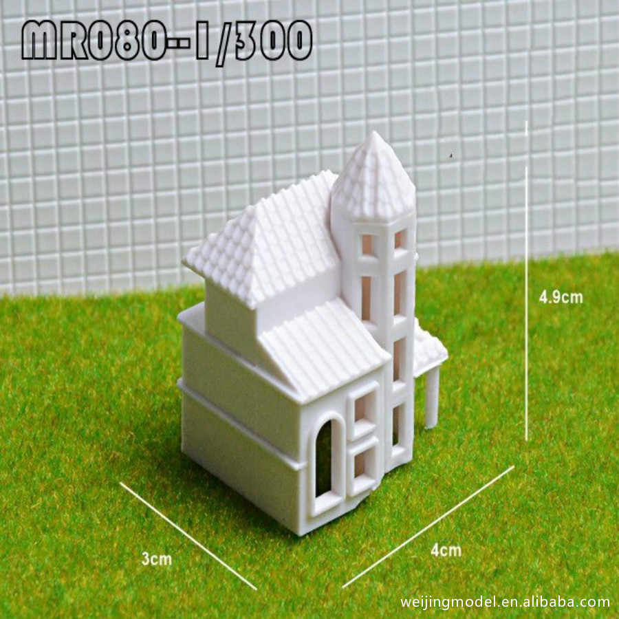 10pcs/lot 1:300 1:400 1:500 Scale white house for ho trains layout fantasy  miniatures model
