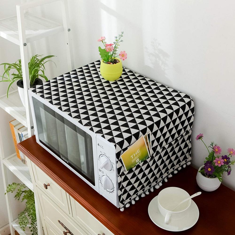 Home Microwave Dust Proof Cover With pouch design premium quality cotton easy to washing decorative Microwave Oven Covers|Microwave Oven Covers| |  - title=