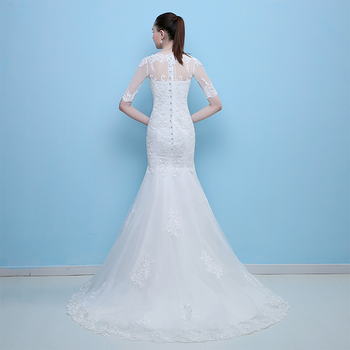 FADISTEE New arrival elegant wedding dress Vestido de Festa dress sweep train satin half sleeves long style wedding party