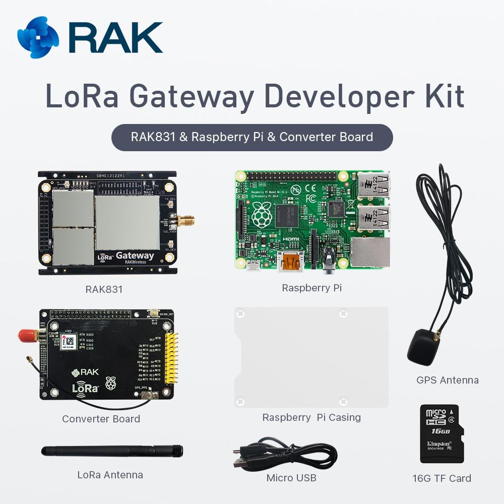 LoRa Gateway Developer Kit, RAK831 LoRa/LoRaWan Module with Raspberry Pi3 and MAX-7Q GPS Module, base on SX1301, 433/868/915MHz smart lora button hardware lorawan program remote wireless trigger wifi module with nodered tutorial for iot developer q168