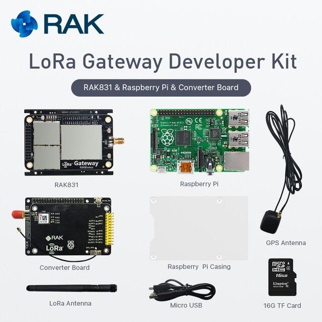 LoRa ゲートウェイ開発キット、 RAK831 LoRa/LoRaWan モジュールとラズベリー Pi3 と MAX-7Q GPS モジュール、ベースに SX1301 、 433/868/915 MHz