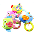 0-3 Y Bebê Sino de mão Chocalho Brinquedo 5 Animais de Pelúcia De Frango Pássaro Da Coruja do Estilo Macaco Feliz Presente WJ290
