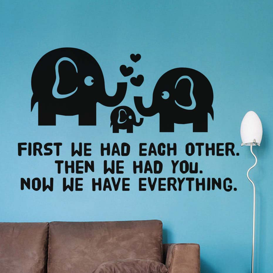 First We Had Each Other Inspirational Quotes Wall Decal Sweet Family Vinyl Stickers Hearts D Wallpaper For Kids Room