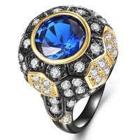ZHE FAN Ladies Halo Round Cut Vintage Wedding Ring Deep Blue CZ Zirconia Rings For Wedding Gift Black Gold Color 2 Tone Plating