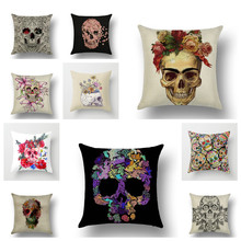 YVEVON  Colorful Skull Polyester Cushion Covers Pillow Case Horror Home Decorative Display For Art Gallery Shop 45cm 18inch