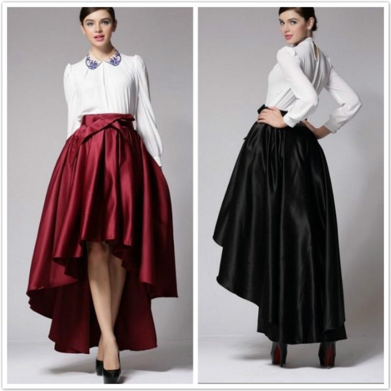 IASKY Fashion Women Dovetail Skirt After short before long High Waist Long Satin Skirt With Bow Bowknot Asymmetrical skirt