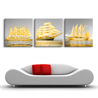 Framed Painting Wall Art Canvas Framed Golden Sailing Boat Home Decorative Art Picture Prints On Canvas