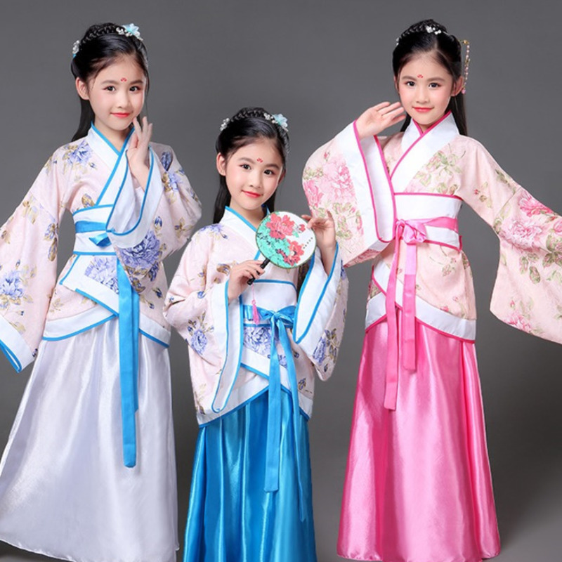 traditional Ancient chinese folk dance costumes hanfu clothing dress girls children classical kids child tang dynasty costume