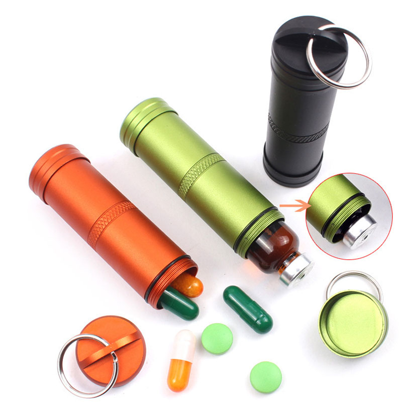New Design Mini Portable Sealed Waterproof Pill Medicine Bottles Can defensa personal Outdoor Sports Working Tactical Supplies