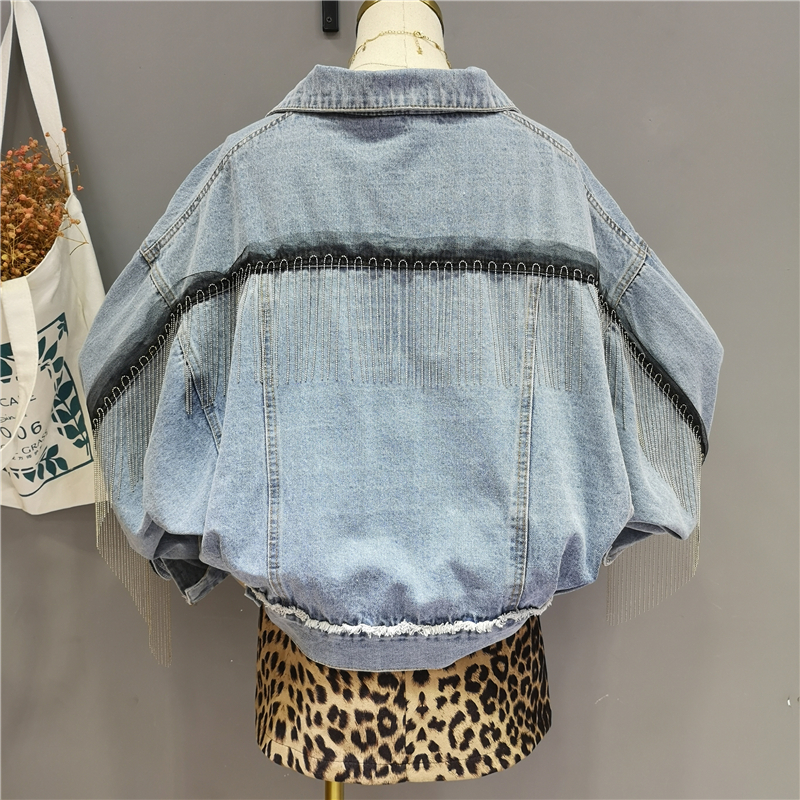 Spring Autumn 2019 Fashion High street Women Long Sleeve Tassel Denim Coat Female Jacket A861