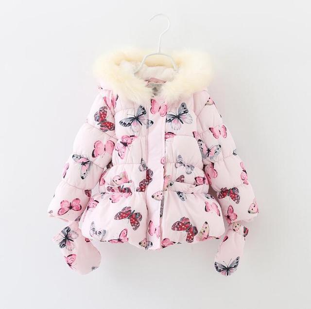 Дети зимний пиджаки девушки куртка прекрасный цветок пальто дети теплый толстовки пиджаки