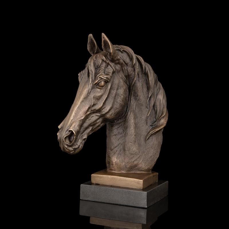 ATLIE Factory Bronzová socha Koňská hlava Figurka Zvířecí busta Socha Mramor Mosaz Kůň Sochy Dárky Suvenýry