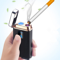 Creative USB Electric Lighter Multifunction Dual Arc Windproof Lighters Lighting Fhone Charging Cigar Lighter 3600 mobile power