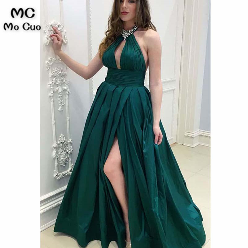2018 Teal Halter   Evening     Dresses   Long with Crystals Beaded Front Split Satin A-Line Formal   Evening   Party   Dress   for Women