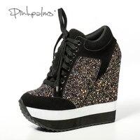 Pink Palms Glitter Shoes Women in Women's Pumps Increased High Heels Shoes Wedge Heels Women Pumps Feminino Sapato Feminino