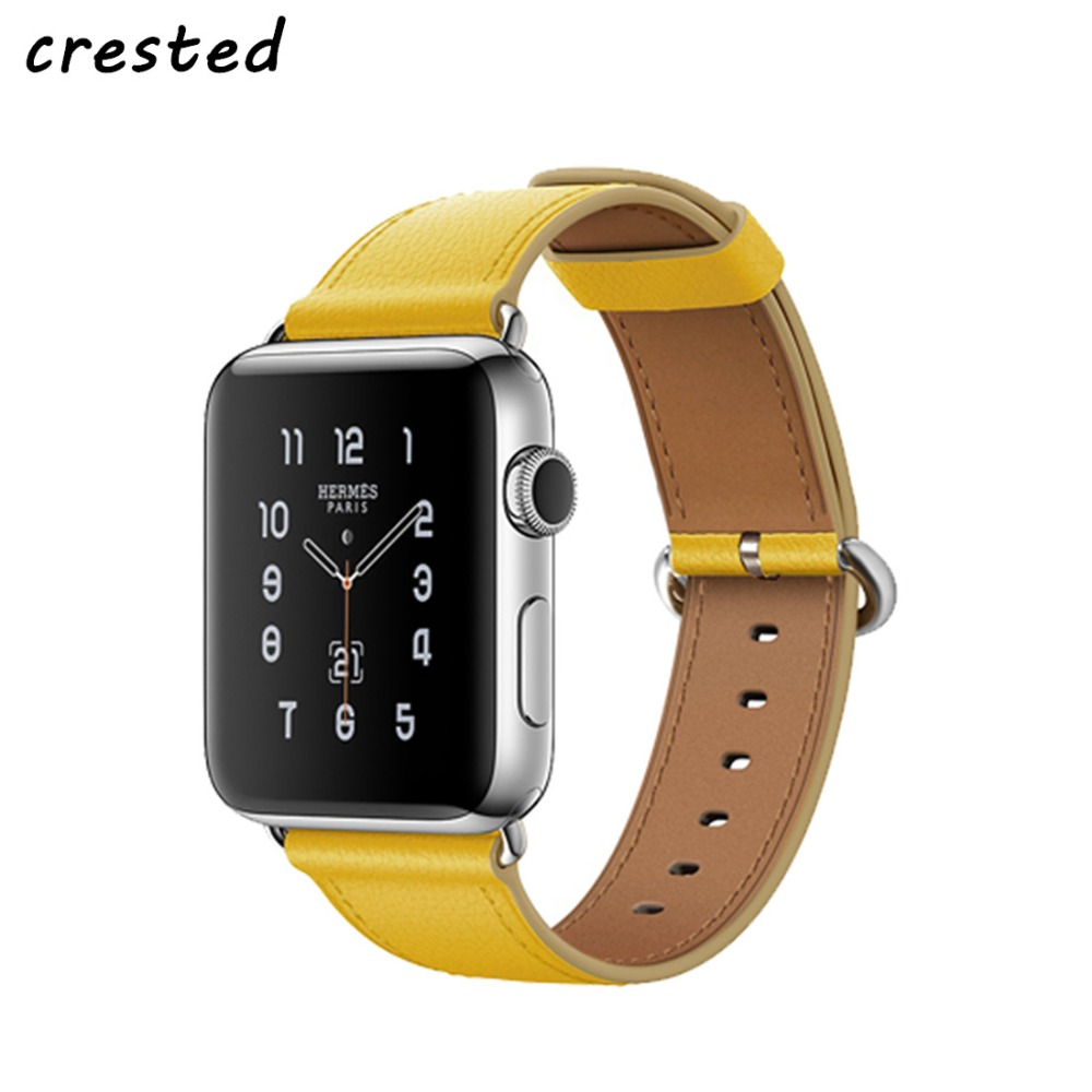 CRESTED Genuine Leather band for apple watch 42mm 38mm iwatch 3/2/1 strap wrist band bracelet belt stainless steel adapter цена и фото
