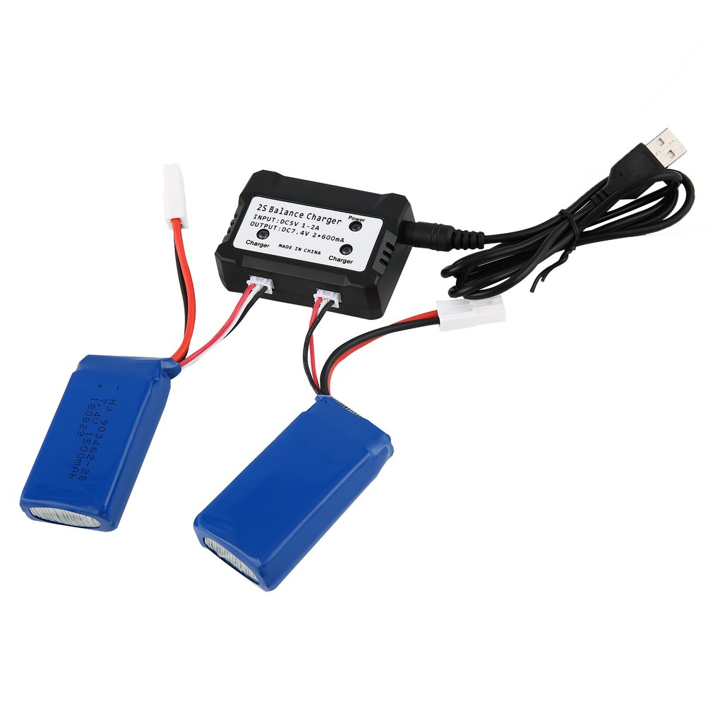 2pcs <font><b>7.4V</b></font> <font><b>1500mAh</b></font> Lipo Rechargeable <font><b>Battery</b></font> with 2 IN 1 <font><b>Charger</b></font> for RC FT009 Boat Ship Spare Parts Component RC <font><b>Battery</b></font> image