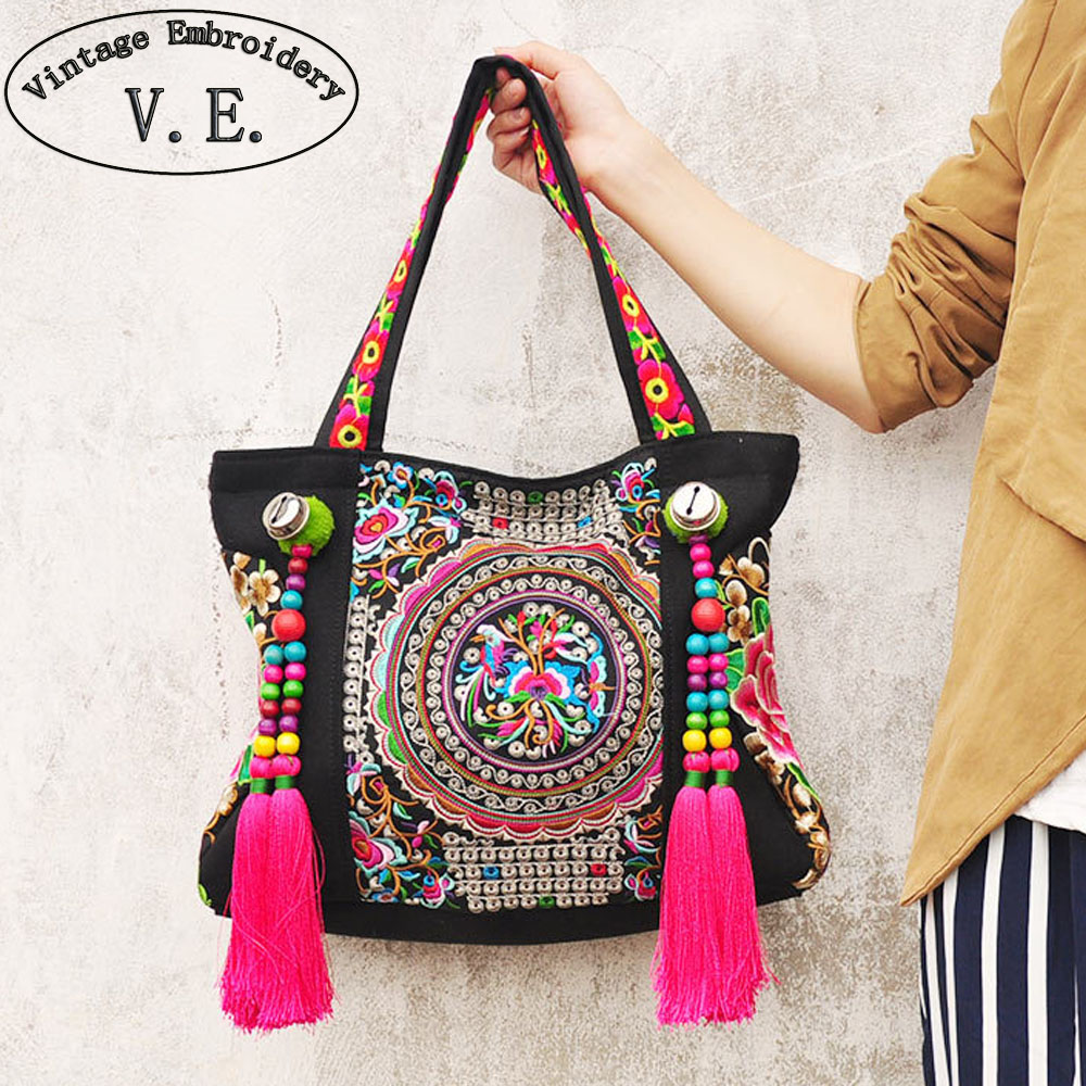 Ethnic embroidery bags fashion personality Chinese National style tassel beads shoulder bag lady big travel shopping handbag