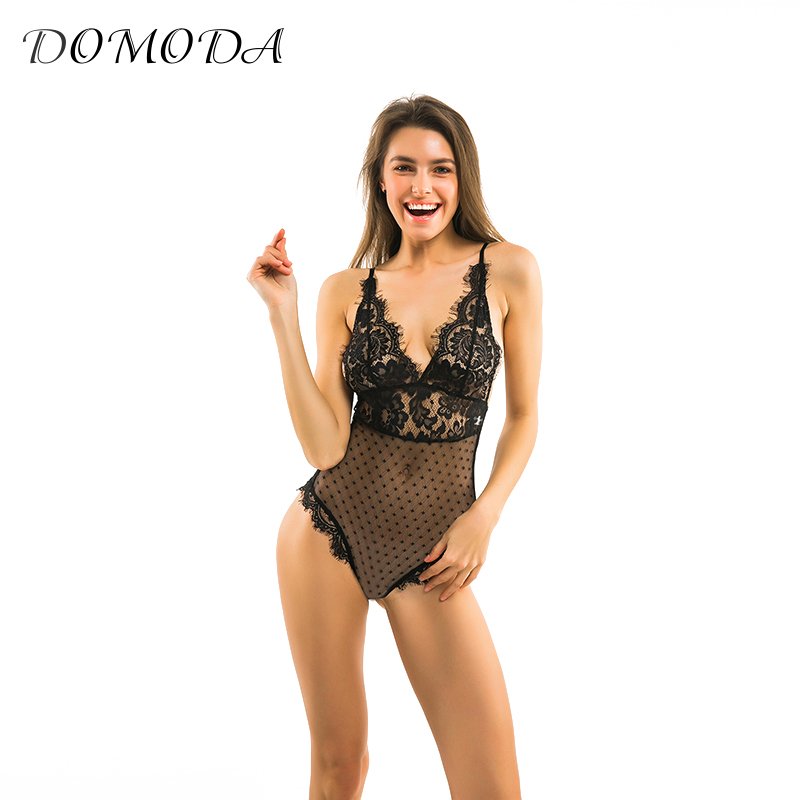 DOMODA New Fashion Women Black Sexy Lace Underwear Deep V Lingerie Backless Adjustable S ...