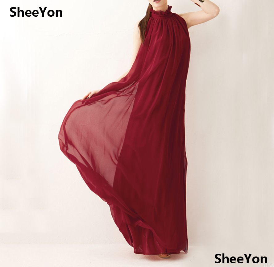 642aa25d86b2 SheeYon women summer 2018 Bohemian dress halter round neck chiffon long  loose dresses Burgundy 8BUF66-in Dresses from Women's Clothing on  Aliexpress.com ...