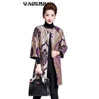 Высокое качество жаккардовая ткань пальто для женщин 2019 полиэфирное волокно 100% Длинные женские пальто три четверти пальто женский