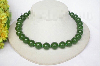"AAA natural 17.5"" 14mm round green jade bead necklace filled gold clasp j8652 Factory Wholesale price Women Giftword Jewelry"